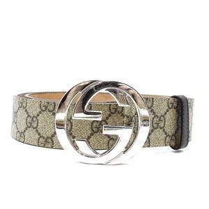 Beige Rare Wide Gg Logo Silver  Size 85 34 Belt